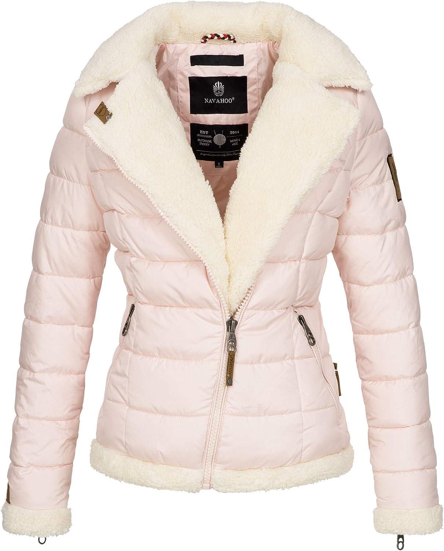 Navahoo Damen Designer Winter Jacke warme Winterjacke Steppjacke Teddyfell B652