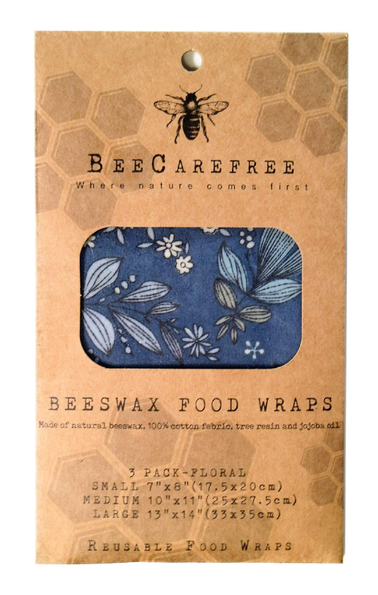 Bee Carefree - Reusable Beeswax Food Wraps - Wrappers/Papers- Small,Medium,Large Set- Floral Sheets Variety Pack-Natural/Eco Friendly-Cover your Bread or Sandwich-Replaces Cling Wrap, Paper Bags or Wr