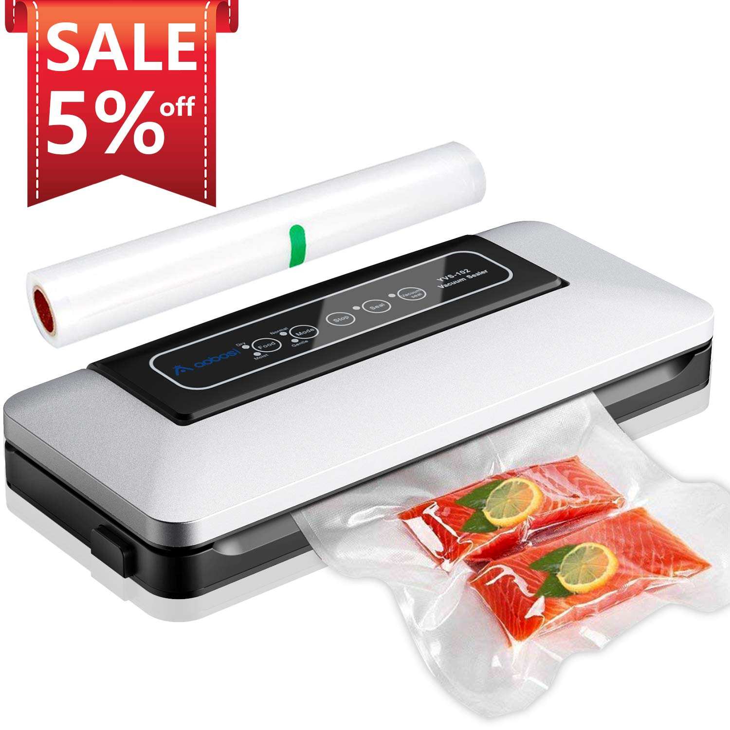 Aobosi Vacuum Sealer Automatic Vacuum Machine with BPA Free Bag Roll for Food Save and Sous Vide Cooking,Super Low Noise,Normal& Gentle Vacuum Modes,Multi-use Vacuum Packing Machine (Silver)