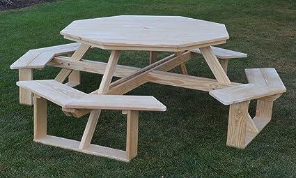 Amazoncom AL Furniture AmishMade Octagonal PressureTreated - Walk in picnic table