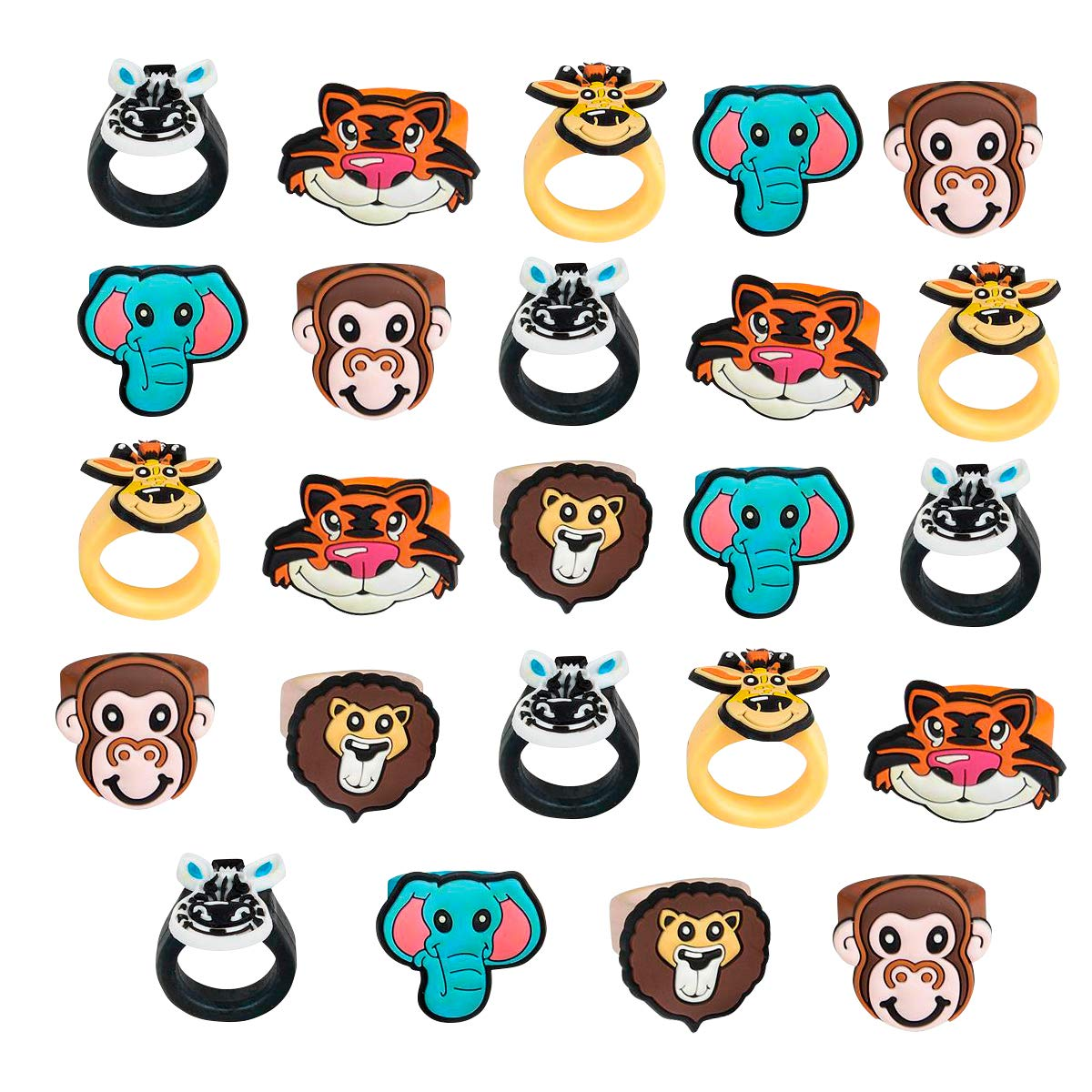 Kicko Zoo Animal Rubber Ring - Pack of 24 1 Inch Party Favor Rings for Children Fashion Accessory, Pretend Play, Cake Toppers, and Safari themed Party Supplies by Kicko