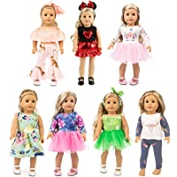 XFEYUE 7 Sets 18 inch Doll Clothes Gifts and Accessories, Mickey,Unicorn Doll Clothes Fit American 18 inch Girls Doll