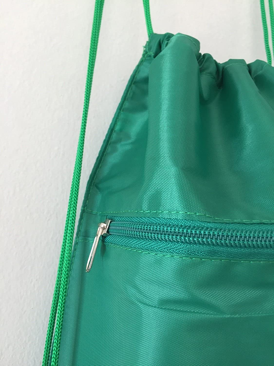 Set of 12 Kelly Green 12 Pack Economical Drawstring Polyester Backpack with Front Pocket