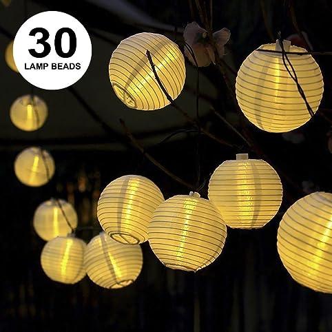ProGreen Solar String Lights Lanterns, 30LED Outdoor Solar Lights,  6.5m/21.3fts
