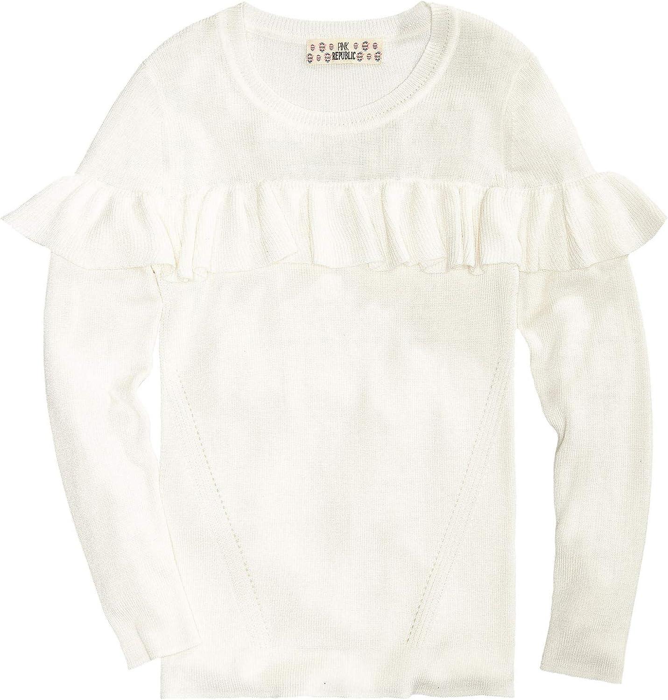 : Pink Republic Girls Crew Neck Ruffle Sweater