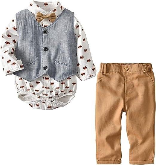 Newborn Infant Baby Boy Gentleman Jumpsuit Romper Bodysuit Cotton Outfit Clothes