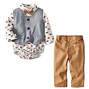 Newborn Baby Boys Infant Gentleman Suit Cotton Foxes Bow Tie Romper Jumpsuit Clothes Toddler 4Pcs Outfit
