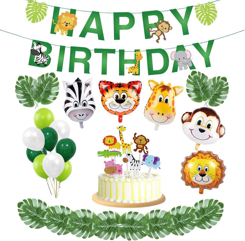 Maojuee Selva Fiesta de Cumpleaños Decoracion de Fiesta 37 Piezas de Animales, Feliz cumpleaños, Adornos para Pasteles, Hojas Tropicales, Globos de Látex y Globos de Látex para la Fiesta Temática