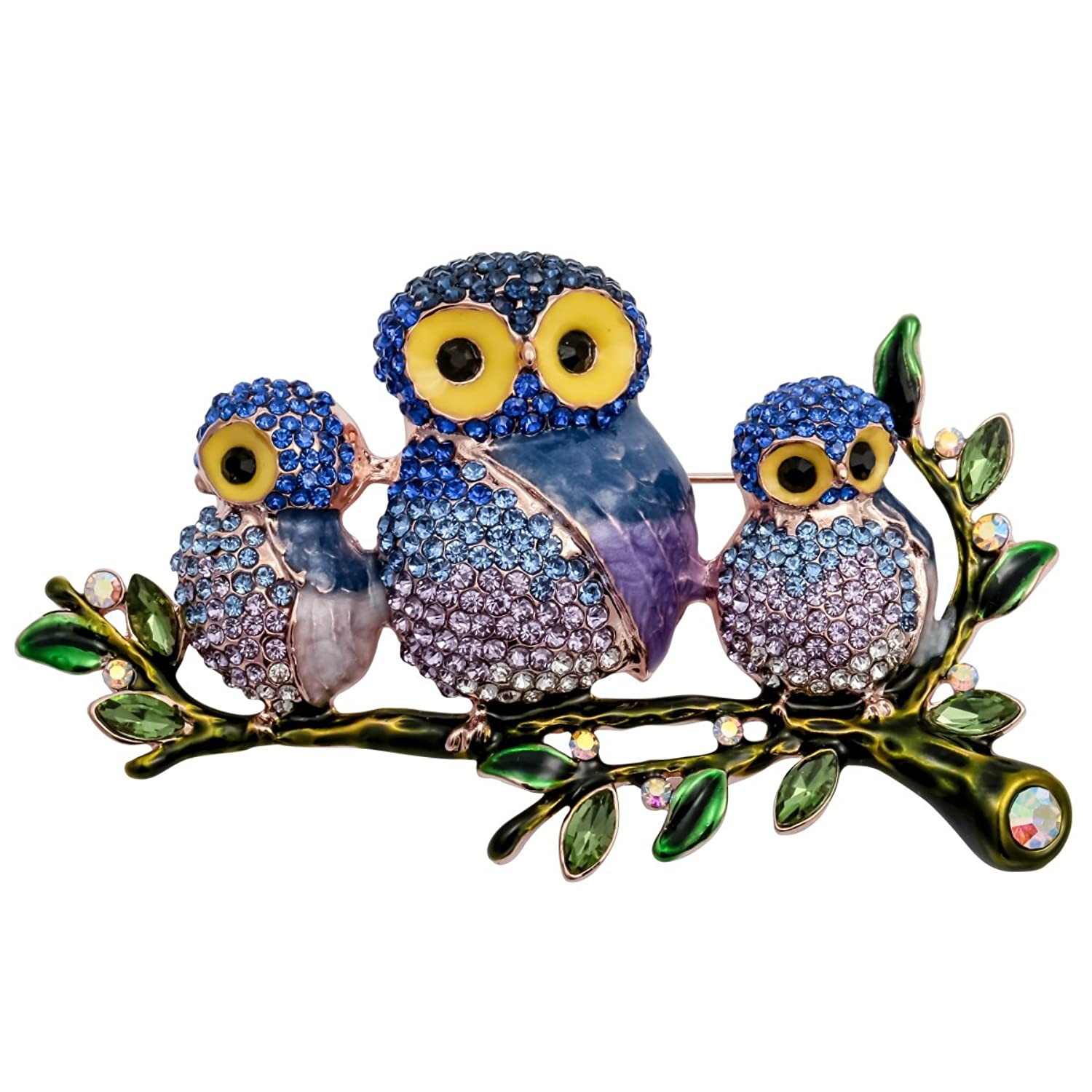 Szxc Jewelry Ctystal Cute Owl Birds Branches Animal Collection Brooch Pin Women Teen Girl