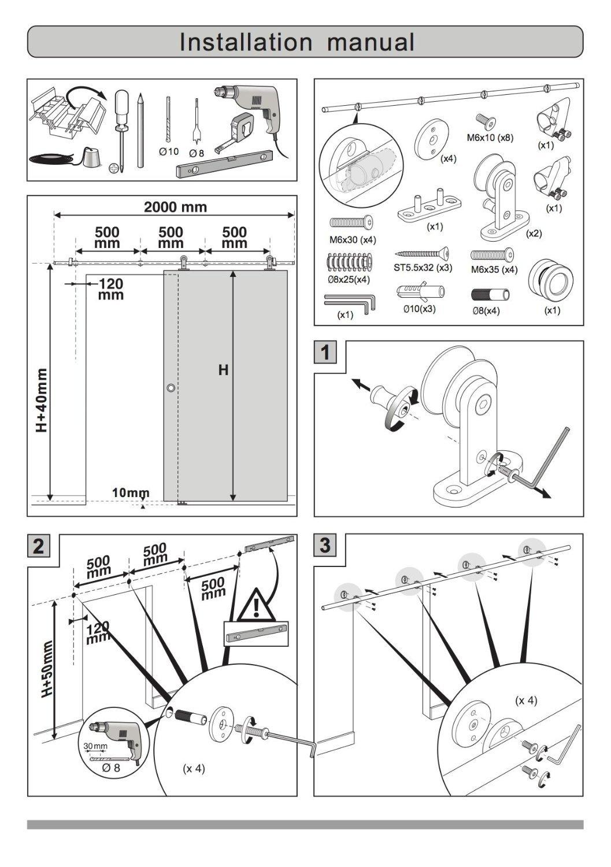 Stainless Steel Sliding Barn Wooden Door Hardware Track(8ft Single Door Kit) by SunGive (Image #8)