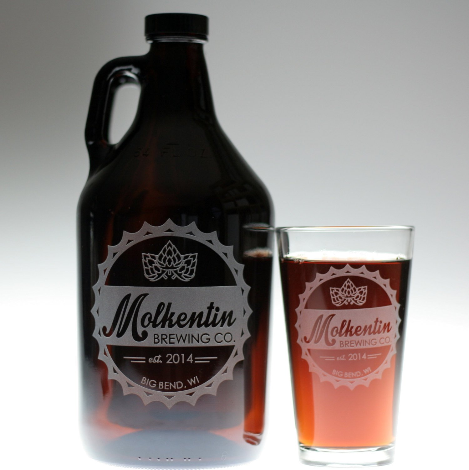 Engraved Personalized Dad Gift | Homebrew Growler and 2 Glass Set Etched with Bottlecap Logo