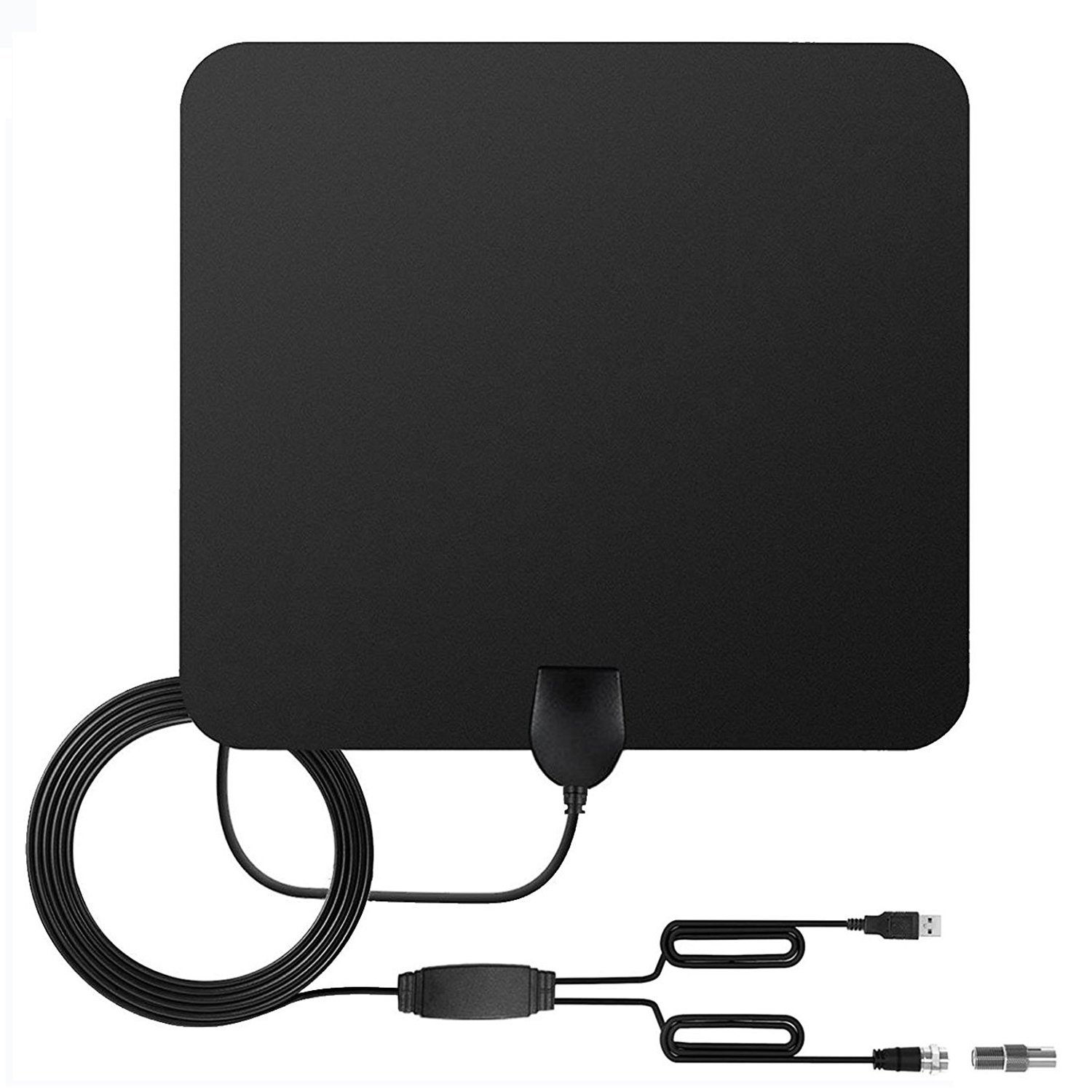 2018 UPGRADED HDTV Antenna Indoor for Highest Performance Digital TV Antenna with 50 Miles Long Range Detachable Amplifier Signal Booster Upgraded Version-10ft Coax Cable(Black)