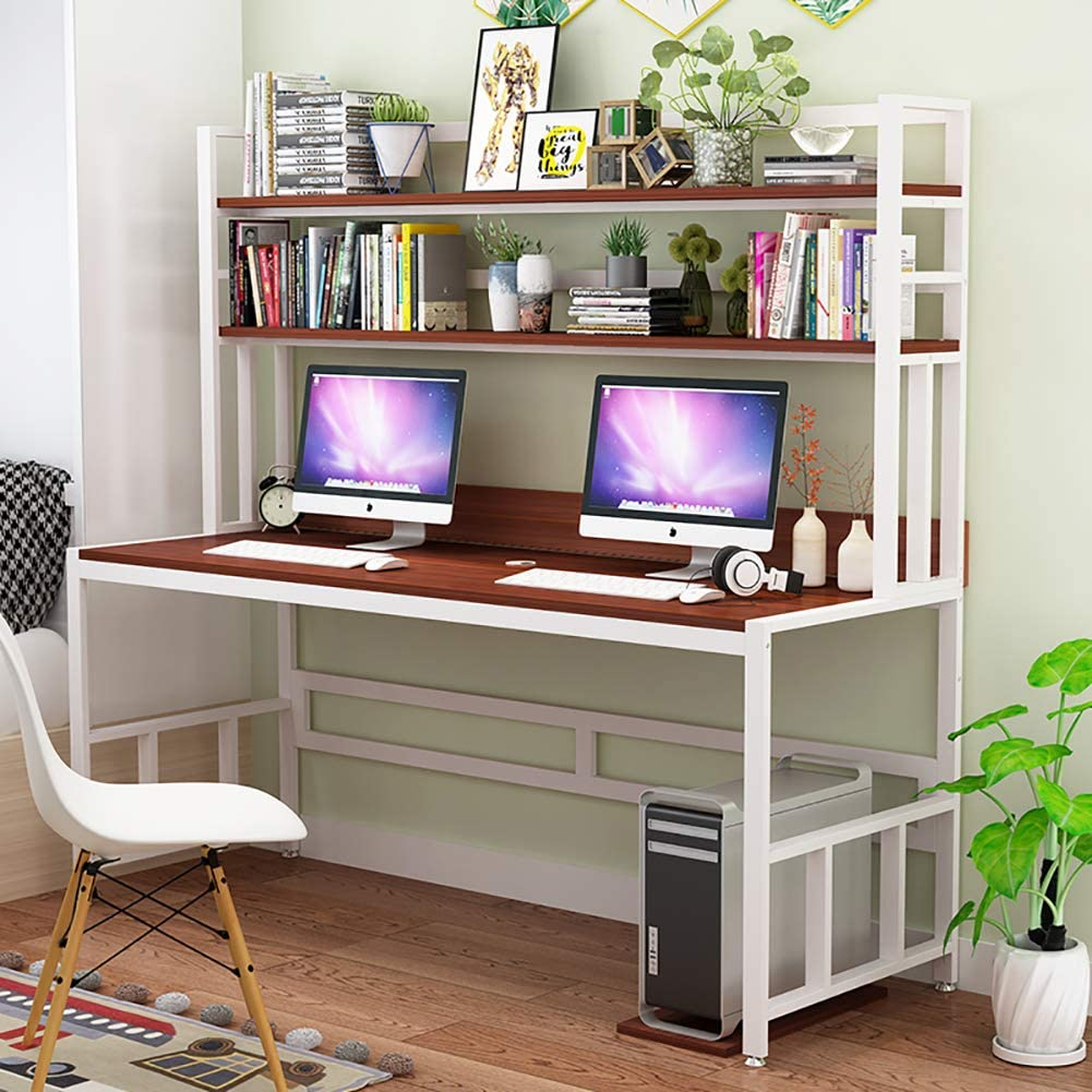 CDTO Modern Writing Desk Bookshelf, Computer Desk Large Office Table Durable Study Desk for Students Pc-d 120x60cm/47.2x23.6inch