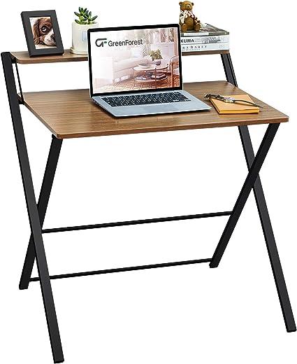 non richiede montaggio con mensola per casa GreenForest modello espresso ufficio per piccoli ambienti Scrivania pieghevole a 2 ripiani per computer
