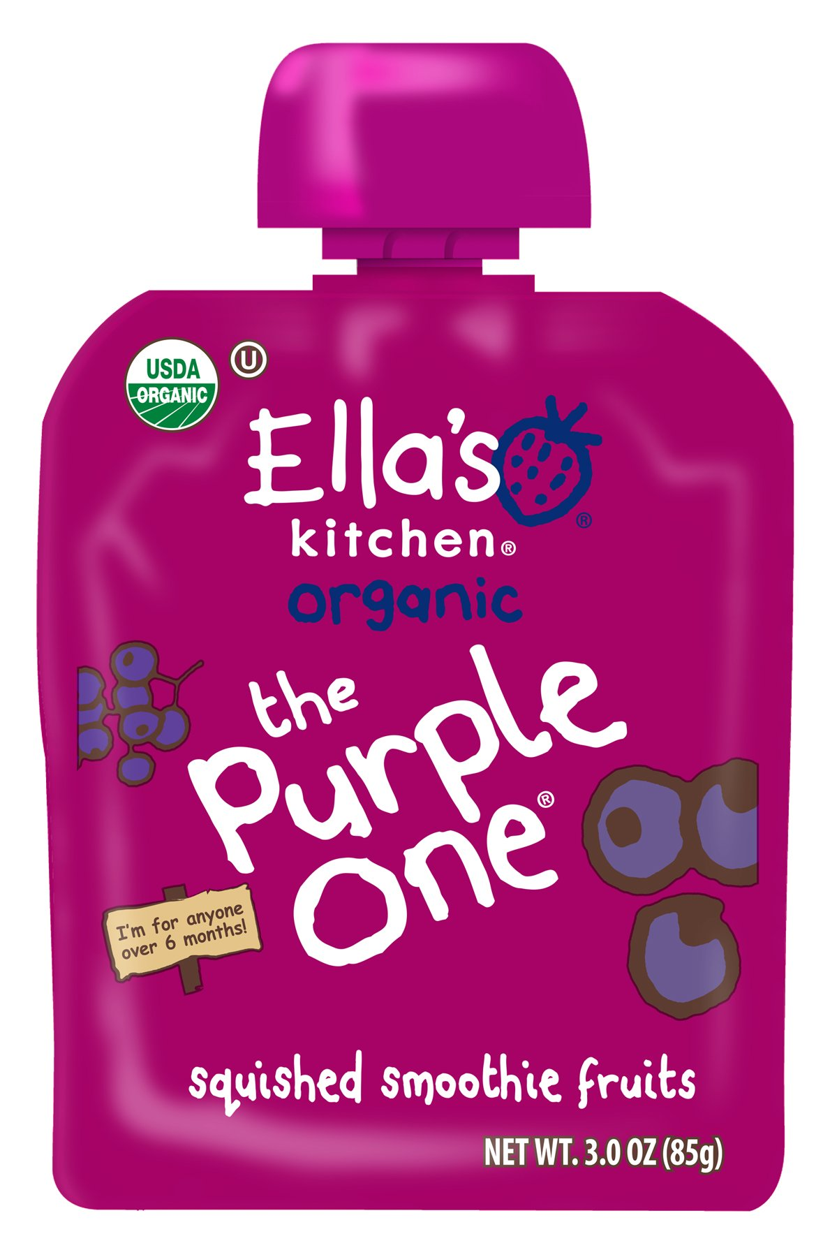 Ella's Kitchen 6+ Months Organic Smoothie Fruits, The Purple One, 3 oz. (Pack of 6)