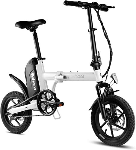 Eahora 14 Inch Folding Electric Bike Mini Electric Bicycle 36V 10.4Ah Removable Lithium-Ion Battery 350W Motor City Commuter Ebike
