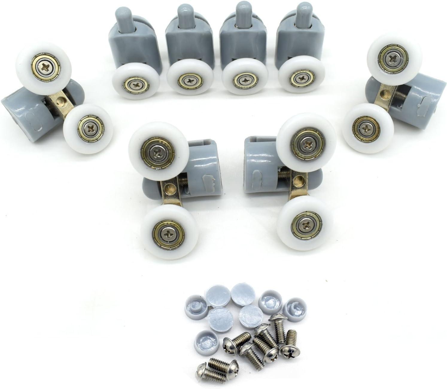 Umlenkrollen Laufrollen YuanQian Duscht/ür-Rollen 20 mm Durchmesser Set mit 8 Duscht/üren Rollen