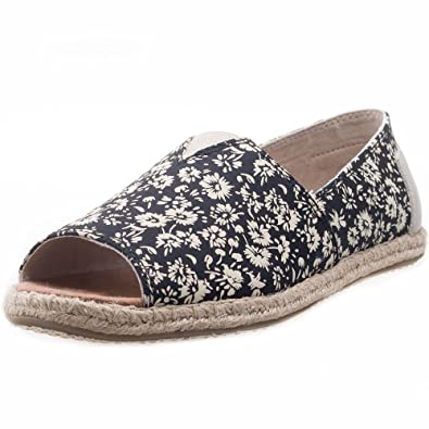 TOMS Womens Alpargata Open Toe Floral Textile Black Ankle-High Synthetic Flat Shoe - 5.5