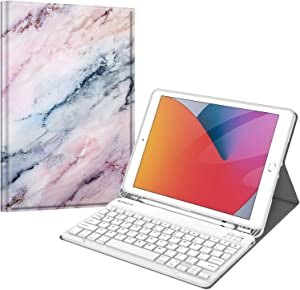 Fintie Keyboard Case for New iPad 8th Gen (2020) / 7th Generation (2019) 10.2 Inch, Soft TPU Back Stand Cover with Pencil Holder, Magnetically Detachable Wireless Bluetooth Keyboard, (Z-Marble Pink)