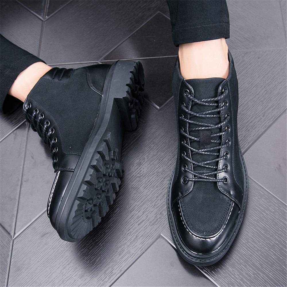 M Color : Black, Size : 7.5 D US 2019 Mens Boots Mens Fashion Casual Hidden Heel High Top Ankle Boot Lace Up Leisure Boot