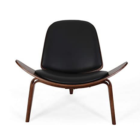 Awe Inspiring Christopher Knight Home 308936 Megan 17 Mid Century Modern Shell Accent Chair With Bentwood Design And Leather Seating Black And Dark Brown Finish Onthecornerstone Fun Painted Chair Ideas Images Onthecornerstoneorg