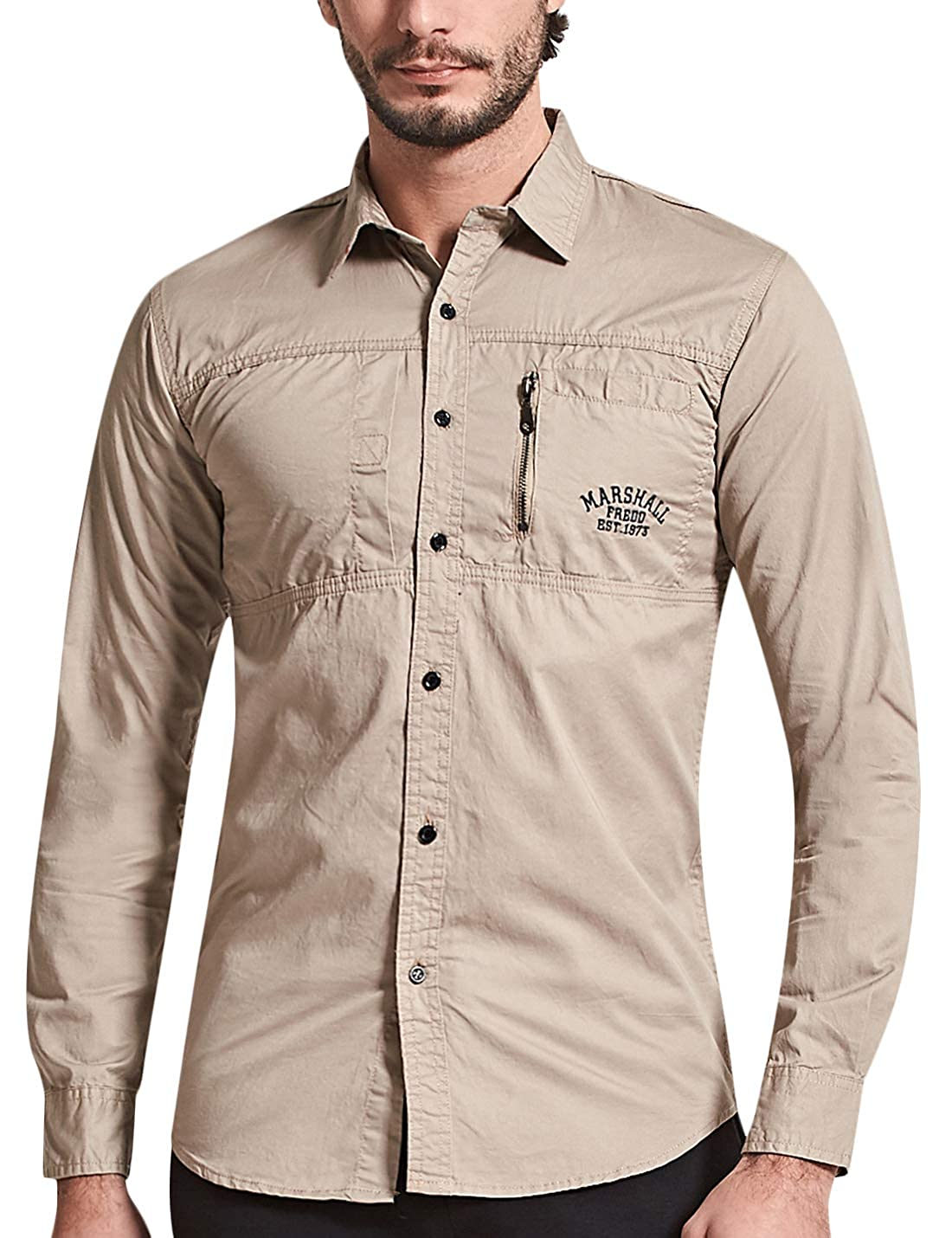 Springrain Mens Casual Military Regular Fit Long Sleeve Button Down Shirt