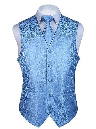 18dfa1c2c3601 HISDERN 3pc Men's Paisley Floral Jacquard Waistcoat & Necktie and Pocket  Square Vest Suit Set Baby