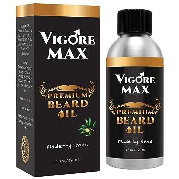 VIGORE MAX Best Natural Men's Beard Oil (4 fl  oz ) Handcrafted, Organic  Moisturizer &