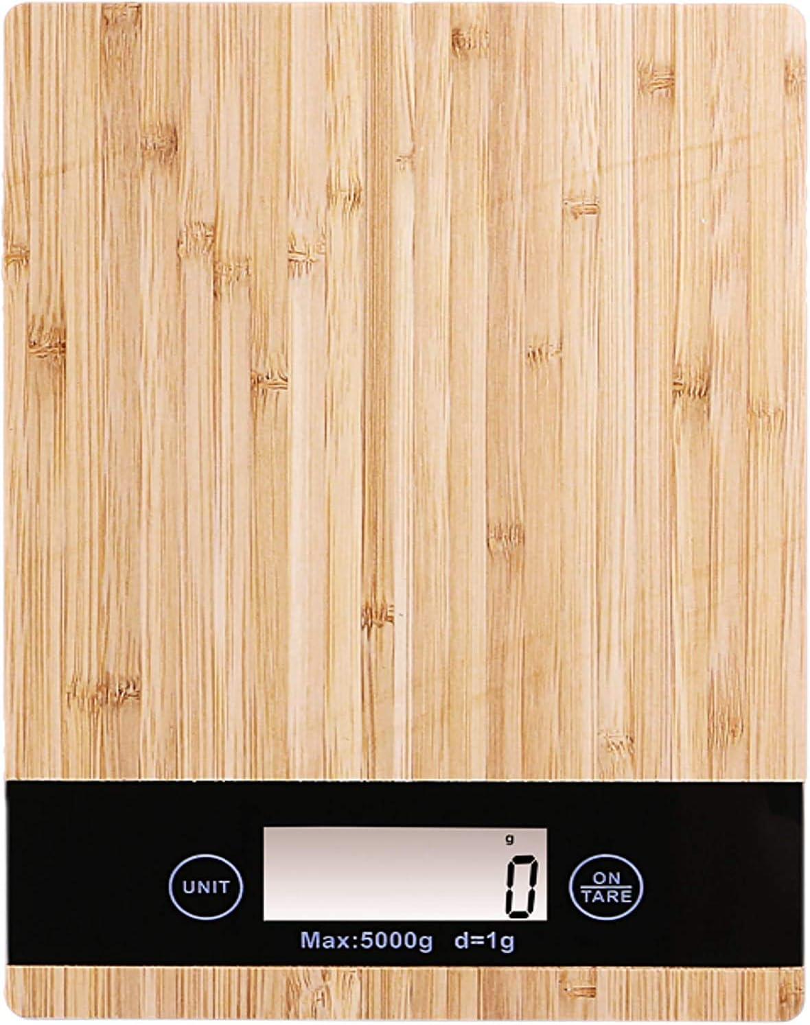 PRITECH - Báscula Digital para Cocina de bambú,Peso máximo 5Kg y Alta precisión, Auto Apagado y Función de Tara. Peso de Cocina PBP-153.