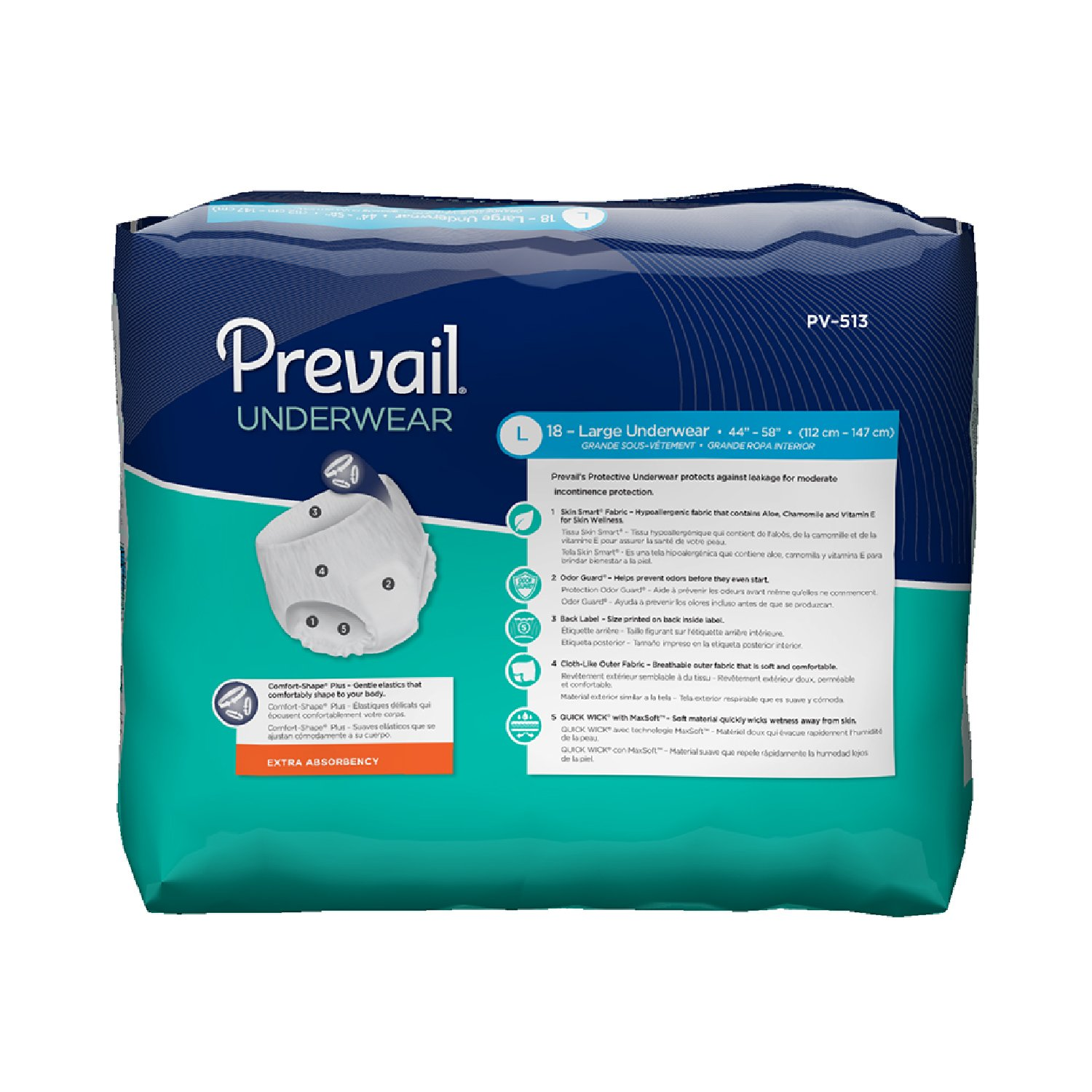 Amazon.com: Prevail Extra Absorbency Incontinence Underwear, Large, 18-Count (Pack of 4): Health & Personal Care