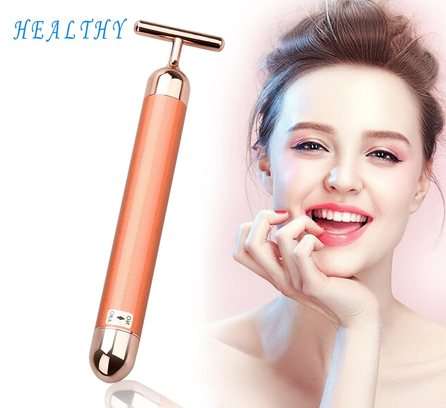 Valentine gift Facial Skin Tightening Roller Massager - 24k Golden Beauty Bar - T Shape Electric Anti-aging Pulse Skin Care - - Face-lift Firming Electric Vibration Massager HJB-1 Healthy-EU AHGRD001123