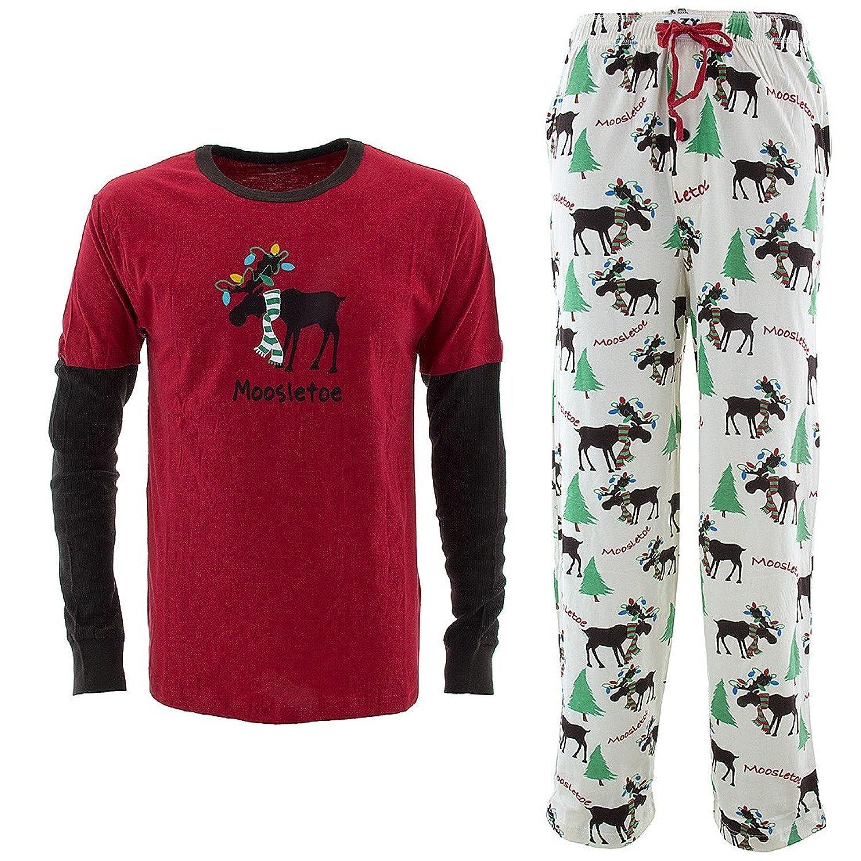 Amazon.com: Lazy One Men's Christmas Pajamas Moosletoe S: Clothing
