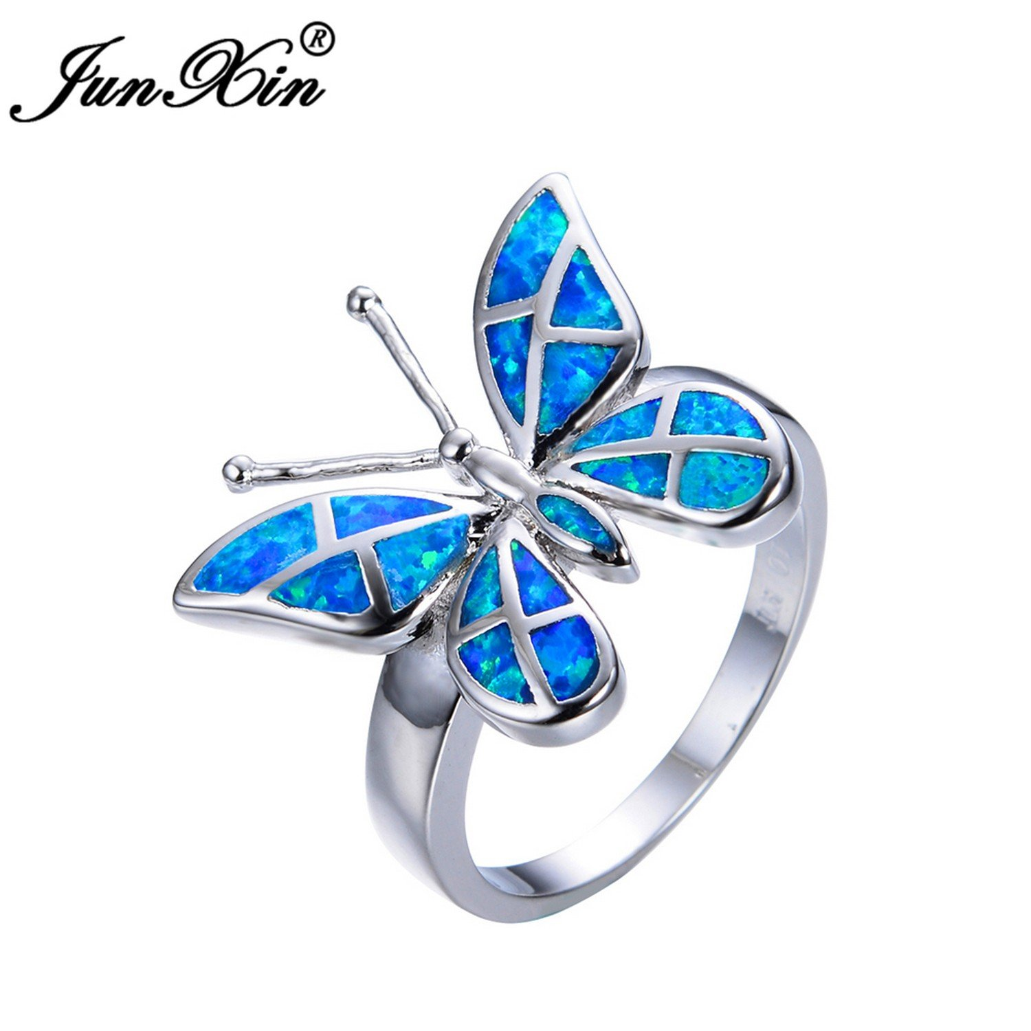 Slyq Jewelry Female Butterfly Ring Fashion bluee Fire Opal Ring 925 Sterling Silver Filled Jewelry Vintage Wedding Rings for Women