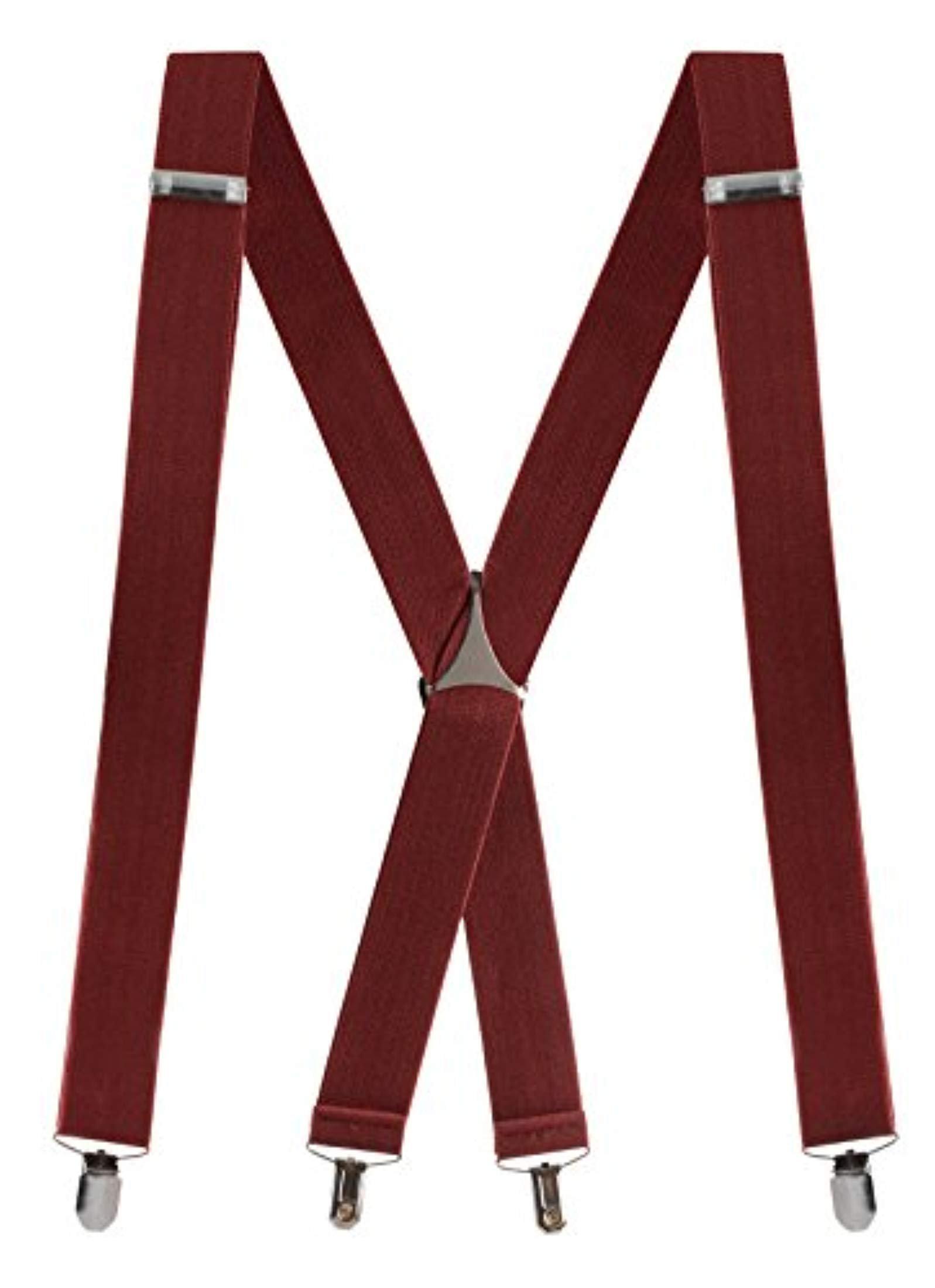 "Buyless Fashion Mens 48'' Elastic Adjustable 1 1/4"" Suspenders In X Shape – Burgundy"