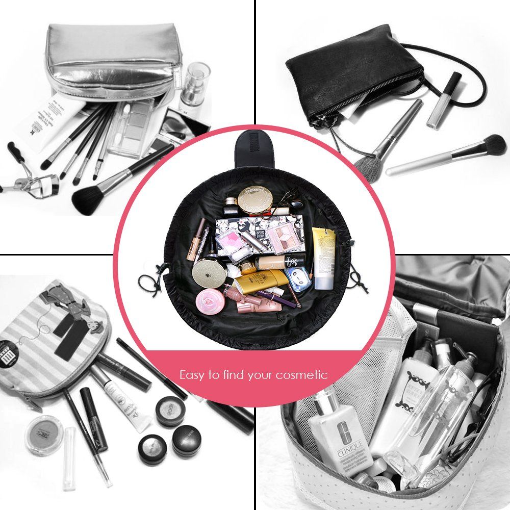 Amazon.com : VOJUAN Fashion Cosmetic Bag Large Capacity Lazy Makeup Toiletry Bag Multifunction Storage Portable Quick Pack Waterproof Travel Bag (Black) : ...