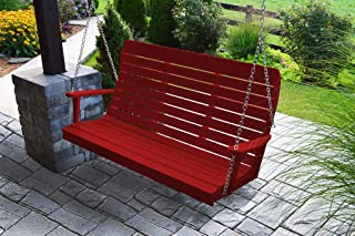 product image for Furniture Barn USA Outdoor 5 Foot Winston Porch Swing with Chain - Bright Red Poly Lumber - Recycled Plastic