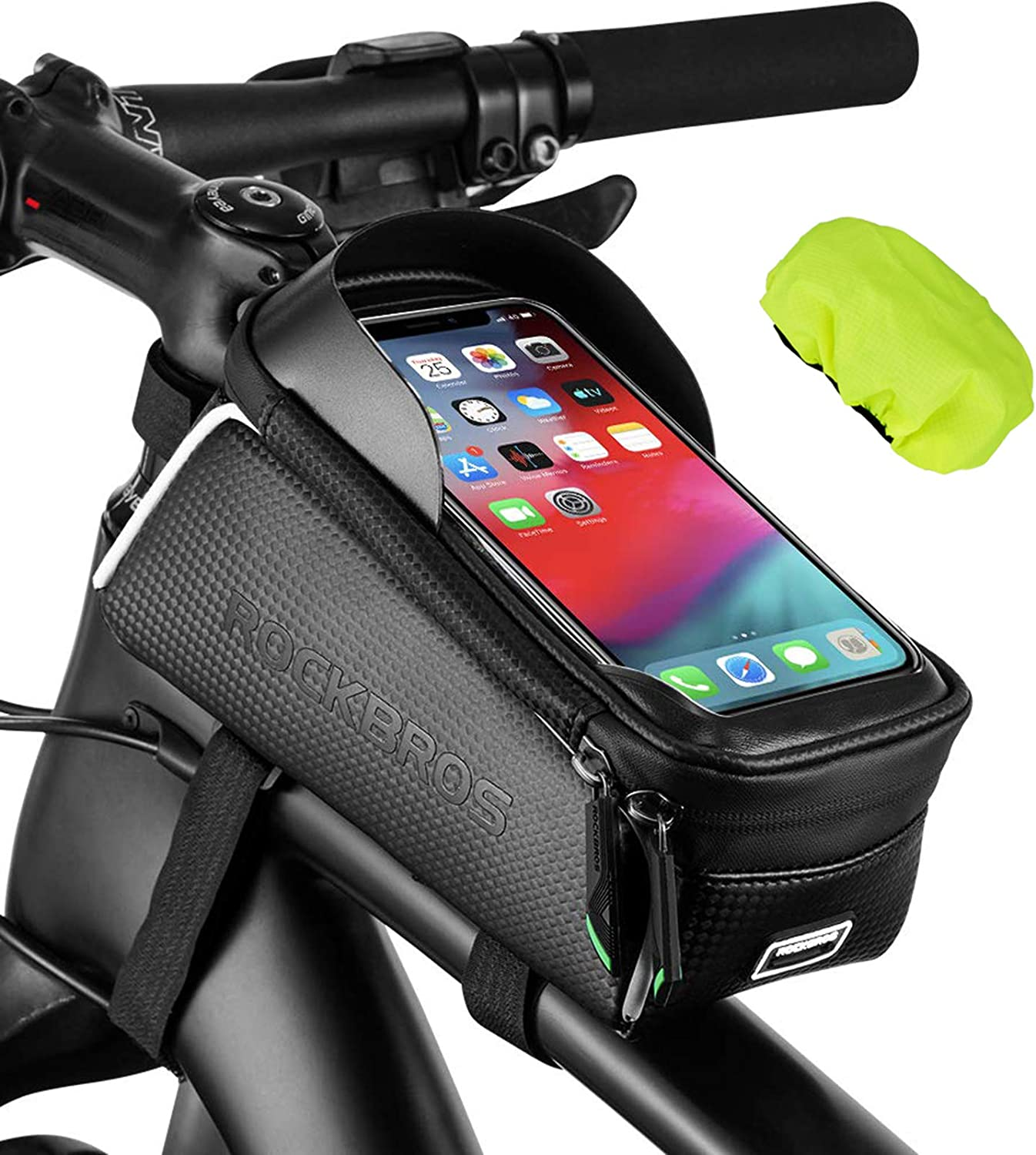 ROCKBROS Bike Top Tube Bag Bicycle Front Frame Bag Waterproof Bike Pouch Pack Bike Phone Bag Cycling Accessories Pouch for Mountain Road Bike