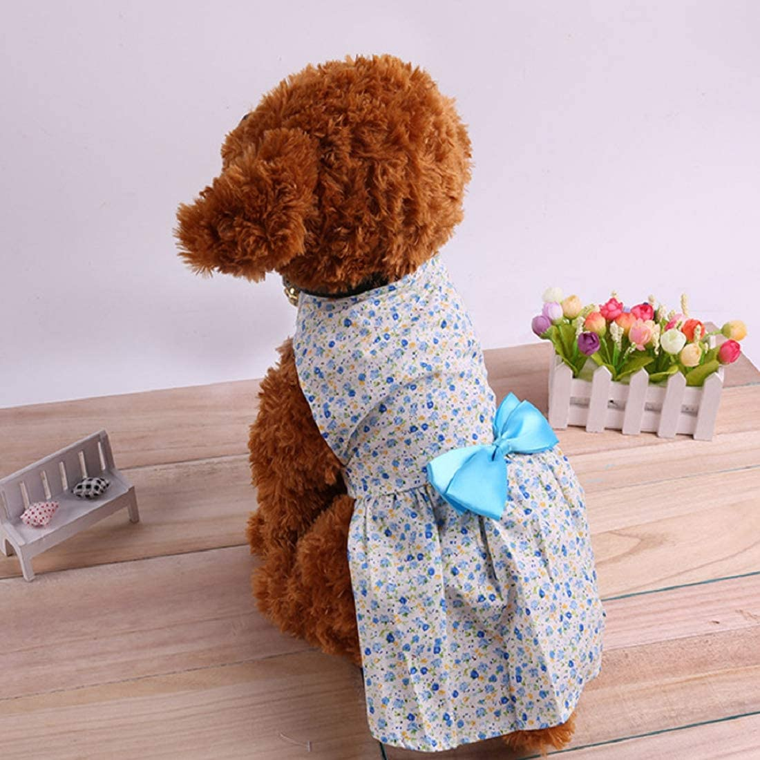 Puppy Dog Dress,Thin Cute Floral Princess Skirt Elegant Floral Ribbon for Small Dogs Cats for Summer Blue