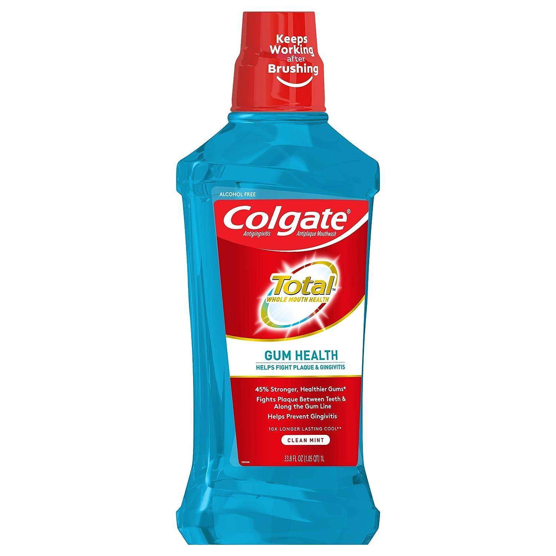Colgate Total Gum Health Alcohol Free Mouthwash, Clean Mint – 1L, 33.8 fluid ounce 6 Pack