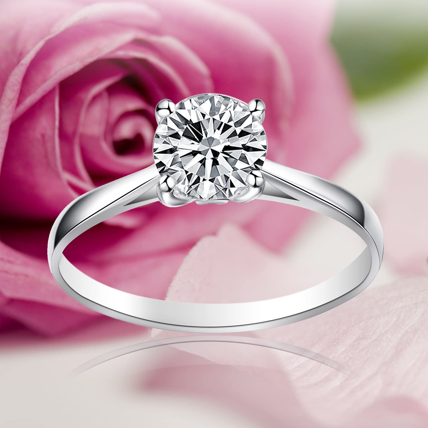 Size UK M J L K N P Q R O With Gift Box 925 Sterling Silver Crystal 4-Claw Set 1.25CT Round 7mm CZ Solitaire Love Forever Engagement Promise Eternity Bridal Wedding Rings for women teenage girls