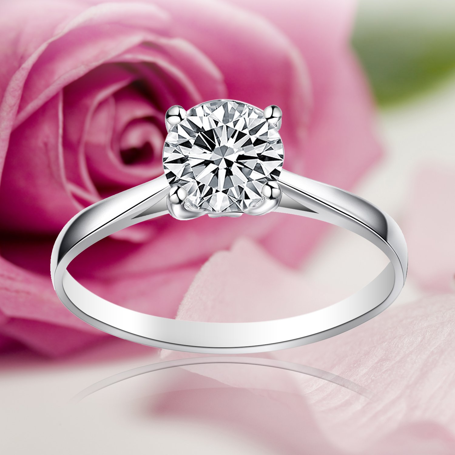 925 Sterling Silver Crystal 4-Claw Set 1.25CT Round 7mm CZ Solitaire ...