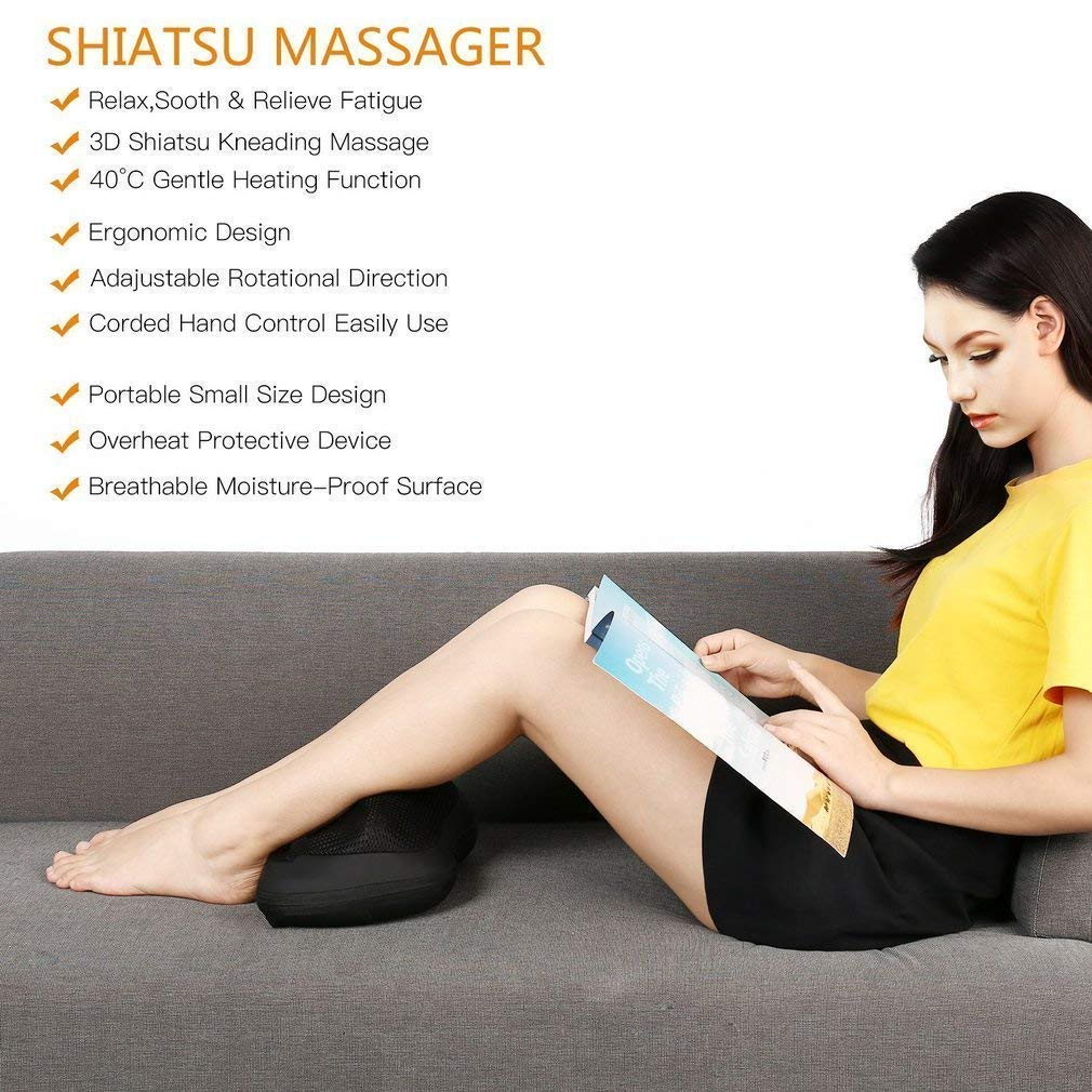 HOBFU Shiatsu Massage Pillow, Heat Neck Back Shoulder Massager Deep Tissue Kneading Massaging for Muscle Pain Relief at Home Office Car
