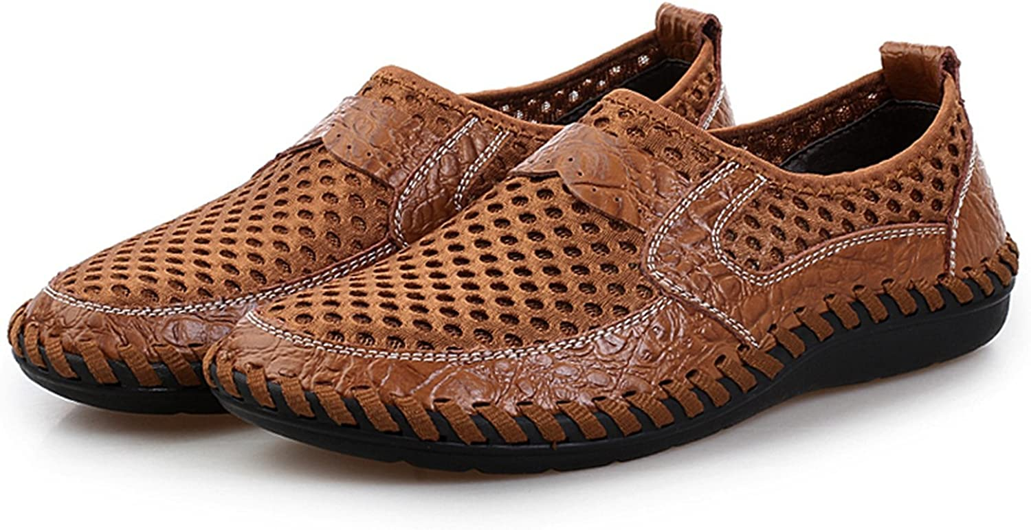 Perfues Summer Breathable Mesh Mens Loafers Casual Genuine Leather Slip On Shoes Man Soft Comfortable