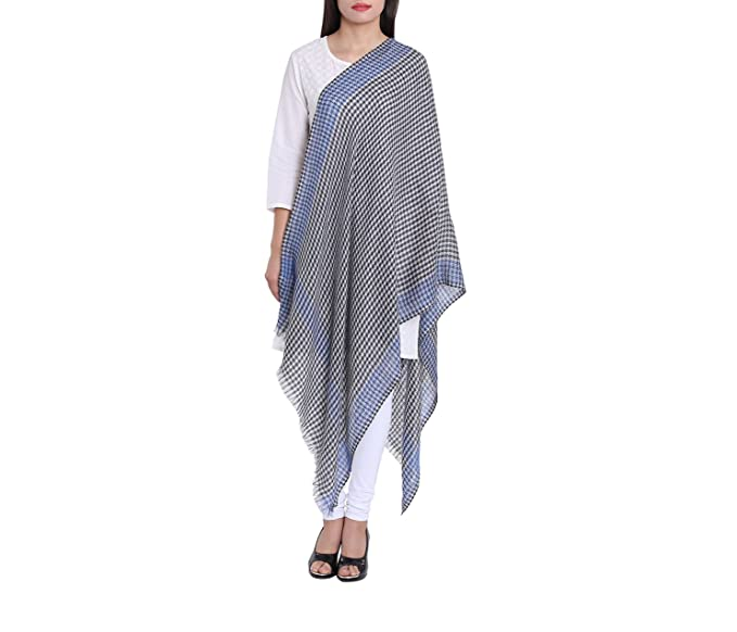 454106ee4d3 Woolen Fashion Accessory Checkered Pattern Scarf Soft Light Unisex Indian  Costume 27X70 Inch 120 Grams