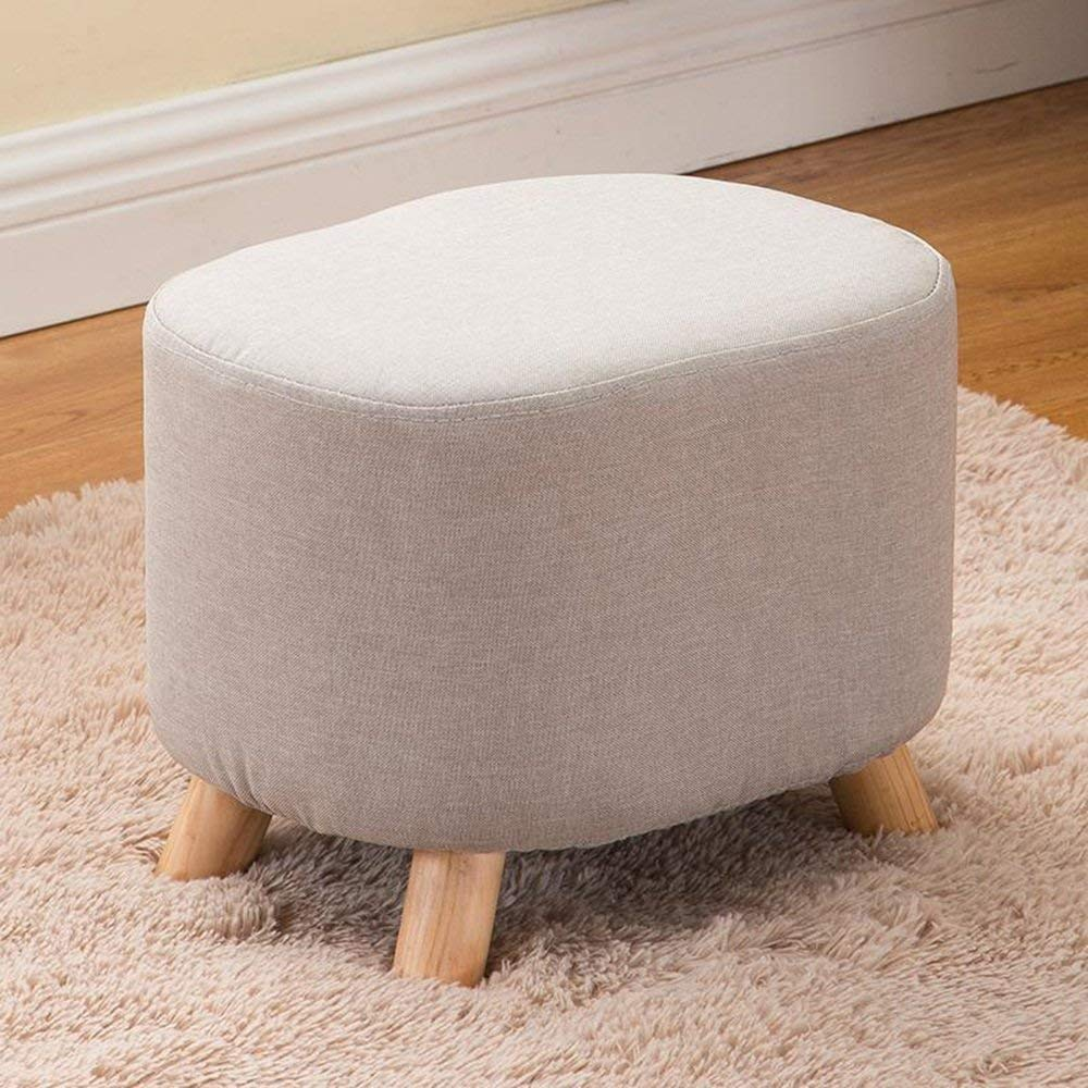 Beige BRNEBN Chair-shoes shoes Fashion shoes Stool Square Stool Removable and Washable Fabric Stool Sofa Stool Solid Wood Stool Home Convenient (color   Brown)