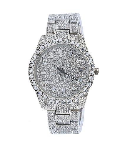 Reloj de Pulsera para Hombre con circonita cúbica de Diamantes, Acabado en Oro Blanco, Movimiento japonés: Amazon.es: Relojes