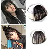 Ugeat Remy Human Hair Pieces Front Clip in Hair Fringe Hair Extensions with Hair Temples #1b Natural Black Color