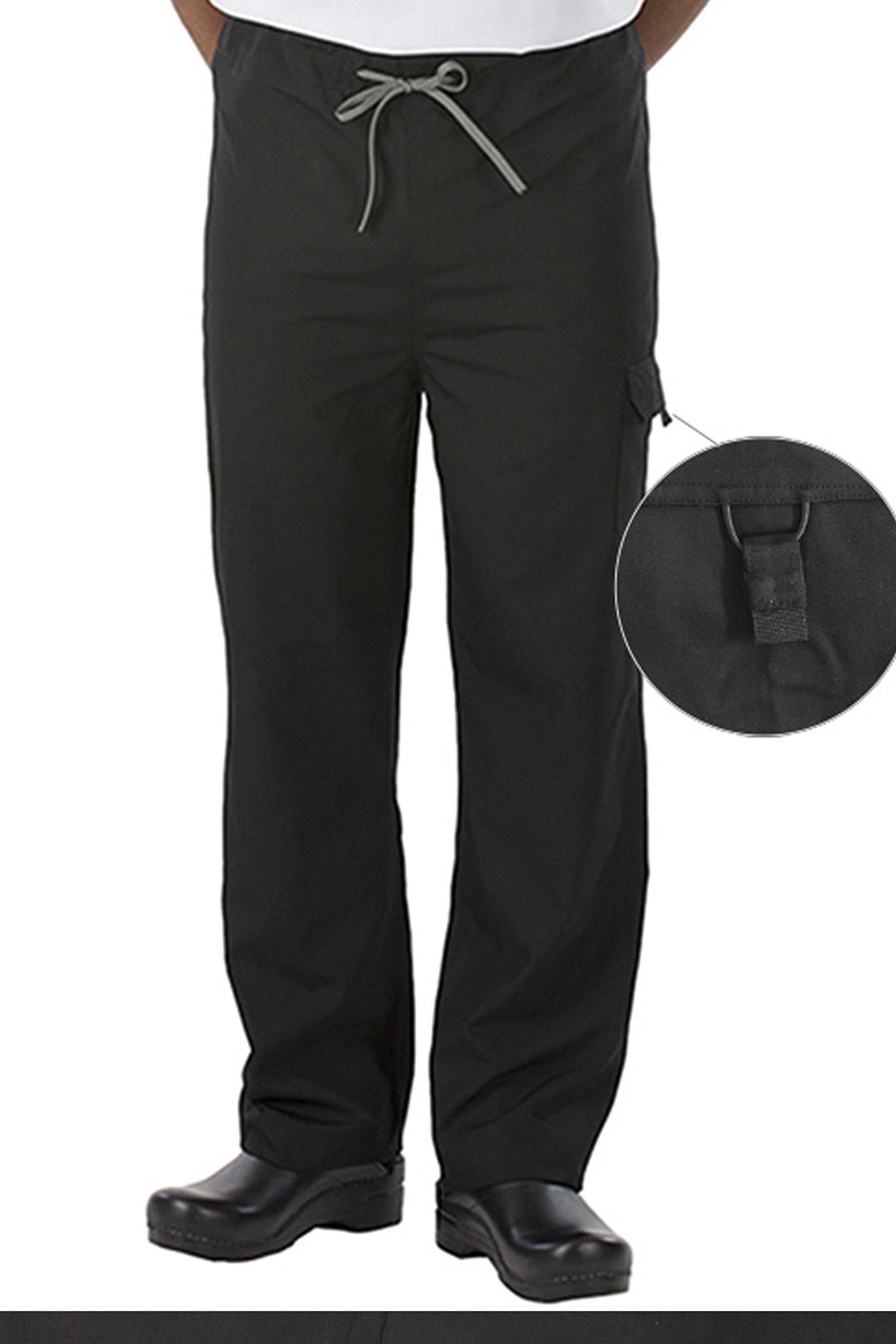 CookCool Basic #Smart Chef Pants (Black, Large)