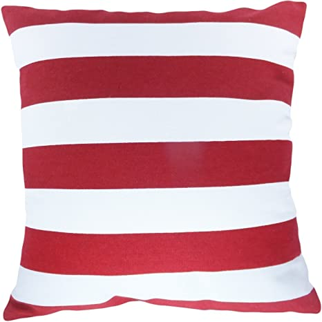 Crystal Emotion Decorative Printed Stripes Floral Throw Pillow Cover Red 18x18inch,Two Sides
