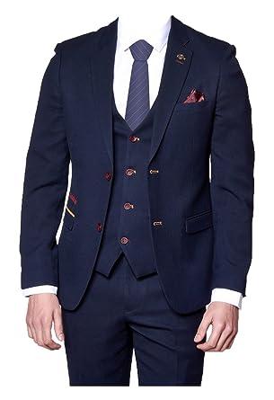 16220341f3c Marc Darcy Mens Formal 3 Piece Fashion Suit JD4 - Dark Blue  Amazon.co.uk   Clothing